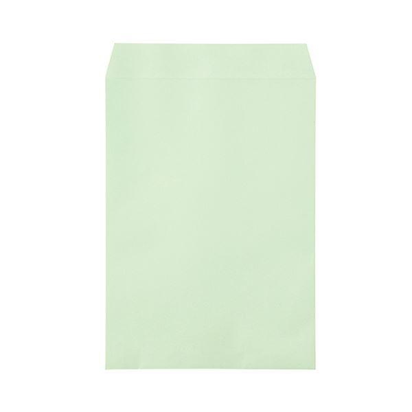 (まとめ)寿堂 カラー上質封筒 角2 〒枠なしサイド貼 テープのり付 ワカクサ 10558 1パック(500枚)【×3セット】