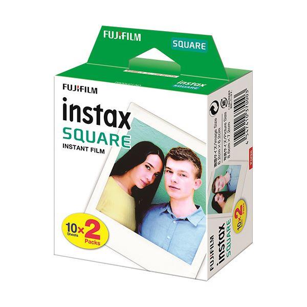(まとめ) 富士フイルム インスタントカラーフィルムinstax SQUARE ホワイト 1箱(20枚:10枚×2パック) 【×10セット】 白