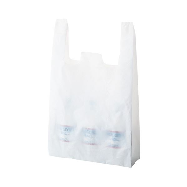 (まとめ) TANOSEE 乳白レジ袋 60号ヨコ350×タテ600×マチ幅150mm 1パック(100枚) 【×10セット】