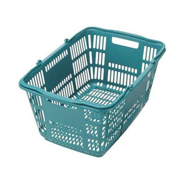 (まとめ)スーパーメイト ショッピングバスケット33L ブルーグリーン CB-33EBG 1個【×20セット】 青 緑