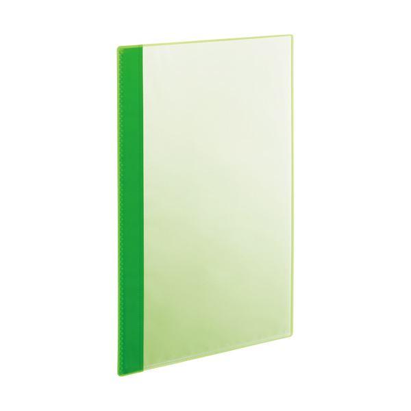 (まとめ)TANOSEE薄型クリアブック(角まる) A4タテ 5ポケット グリーン 1パック(5冊) 【×20セット】 緑