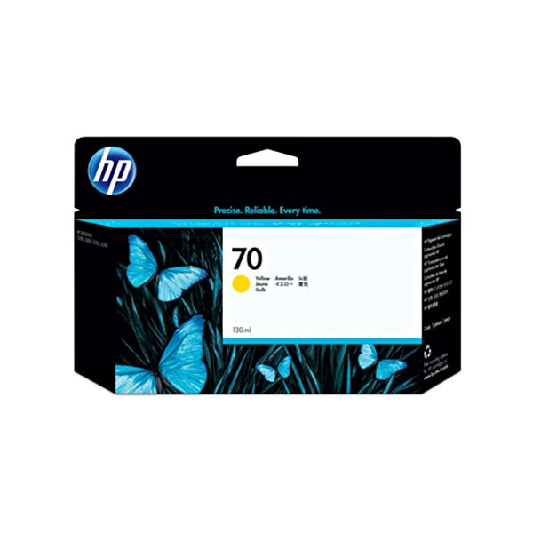 (まとめ) HP70 インクカートリッジ イエロー 130ml 顔料系 C9454A 1個 【×10セット】 黄