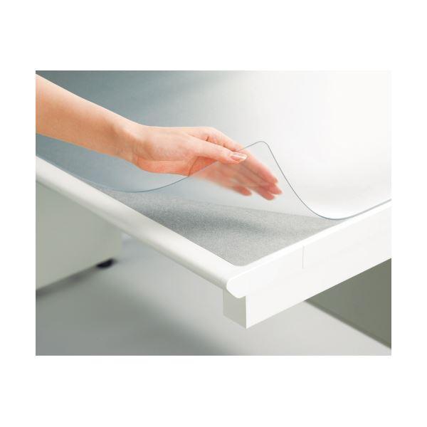 (まとめ)プラス ななめカットデスク (テーブル 机) マット(塩ビ) OAタイプ ダブル(下敷付) 1190×590mm ライトグレー DM-126MW 1枚【×3セット】
