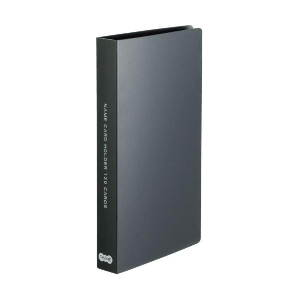 (まとめ)TANOSEE 名刺ホルダー 固定式コンパクト 120名用 ヨコ入れ ブラック 1冊 【×30セット】
