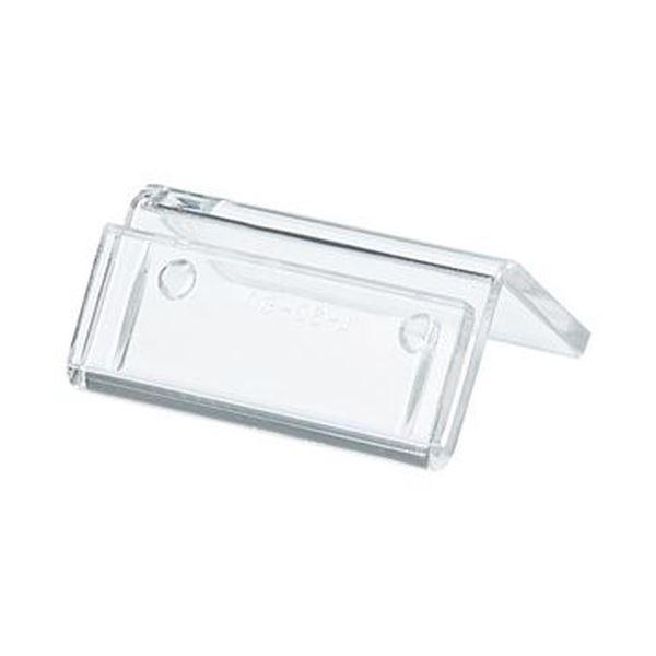 (まとめ)共栄プラスチック 豆カード立W30×H15mm 透明 L-30-1 1パック(10個)【×20セット】