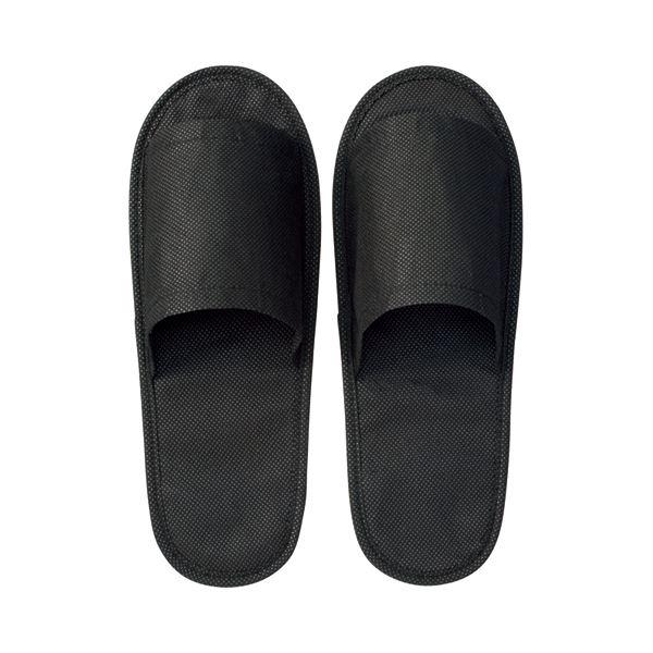生活雑貨 履物 スリッパ (まとめ) 三和 不織布スリッパ ブラック OTS-1BK 1セット(10足) 【×30セット】 黒