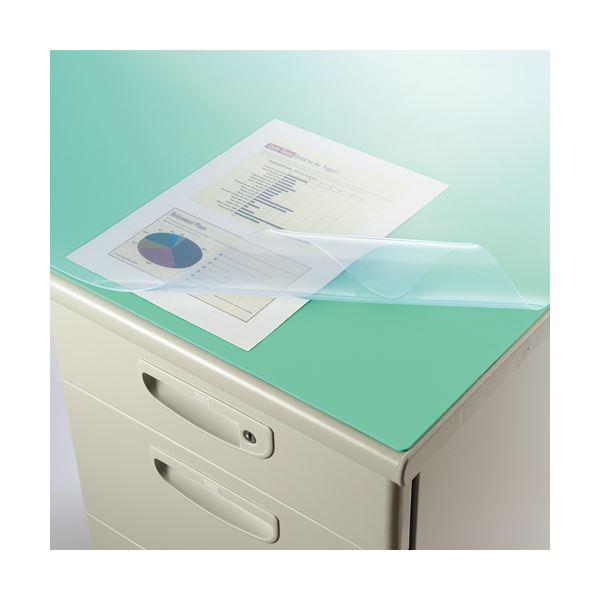(まとめ)ライオン事務器 デスク (テーブル 机) マット再生オレフィン製 光沢仕上 ダブル(グリーンマット付) 900×620×1.5mm No.7-PRK 1枚【×3セット】 緑