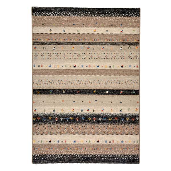 ギャッベ風 ラグマット じゅうたん カーペット 敷き物 /絨毯 【133cm×195cm ブラック】 長方形 ウィルトン 高耐久 『インフィニティ レーヴ』 黒