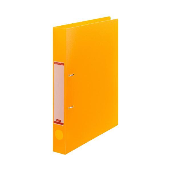 (まとめ)TANOSEEDリングファイル(半透明表紙) A4タテ 2穴 200枚収容 背幅38mm オレンジ 1冊 【×30セット】