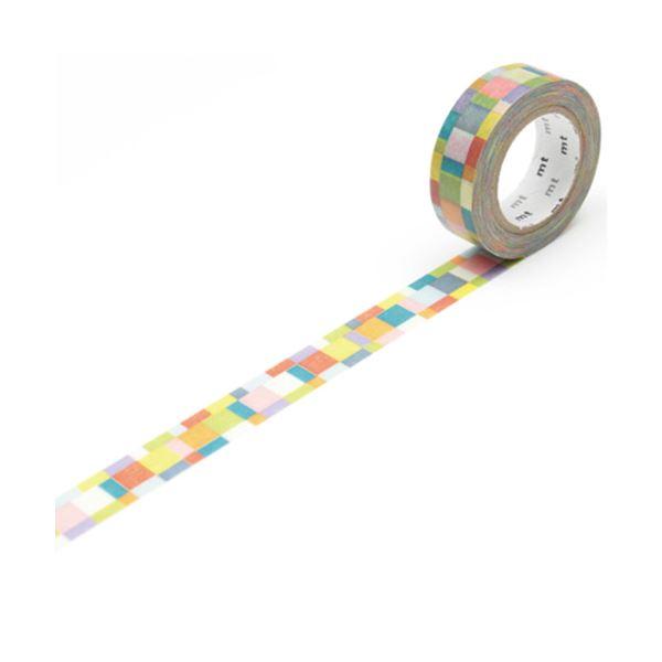 (まとめ) カモ井加工紙 マスキングテープ mtDECO モザイク・ブライト 15mm×10m MT01D176 1巻 【×50セット】