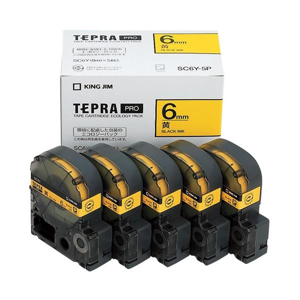 (まとめ)キングジム テプラ PRO テープカートリッジ パステル 6mm 黄/黒文字 エコパック SC6Y-5P 1パック(5個)【×3セット】