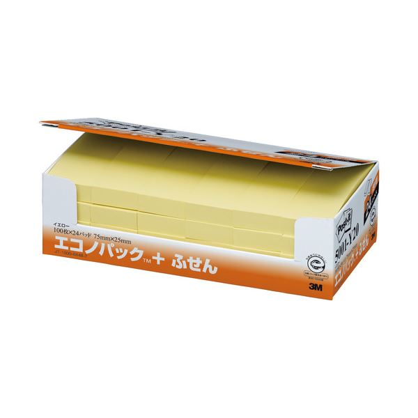 (まとめ) 3M ポストイット エコノパック ふせん 再生紙 75×25mm イエロー 5001-Y20 1パック(24冊) 【×5セット】 黄