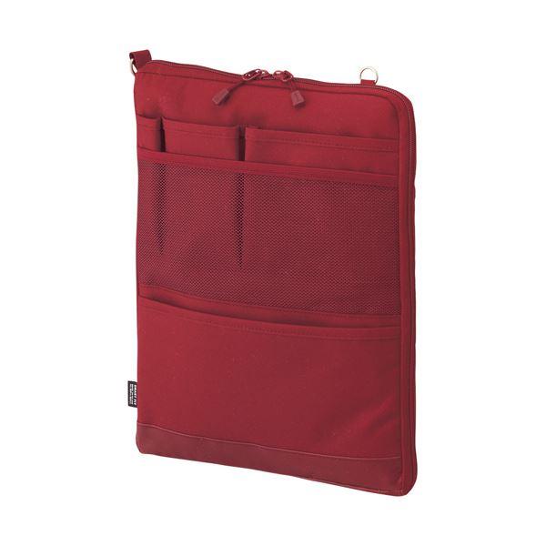 (まとめ) リヒトラブ SMART FITACTACT バッグインバッグ (タテ型) A4 レッド A-7683-3 1個 【×10セット】 赤