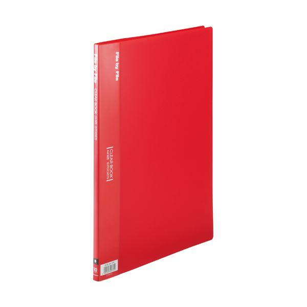 (まとめ) ビュートン クリヤーブック(クリアブック) A4タテ 10ポケット 背幅9mm レッド BCB-A4-10R 1冊 【×50セット】 赤