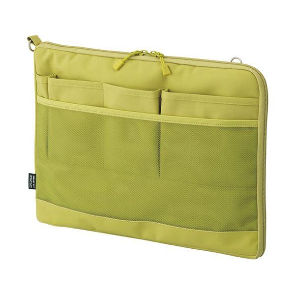 (まとめ) リヒトラブ SMART FITACTACT バッグインバッグ (ヨコ型) A4 イエローグリーン A-7681-6 1個 【×10セット】 緑 黄