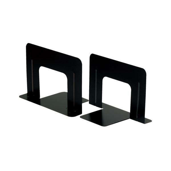 (まとめ) TANOSEE ブックエンド T型 ワイド ブラック 1組(2枚) 【×10セット】 黒