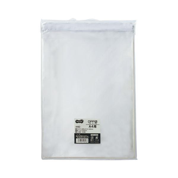 (まとめ)TANOSEE OPP袋 フタ・テープ付A4用 225×310+40mm 1セット(1000枚:100枚×10パック)【×3セット】