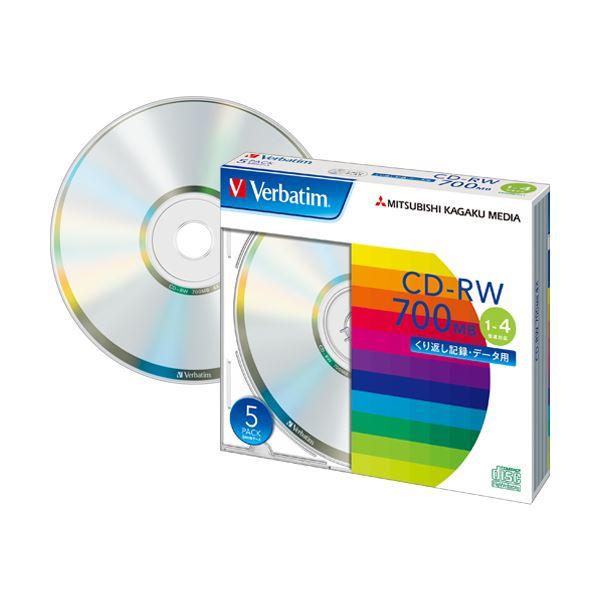 (まとめ) バーベイタム データ用CD-RW700MB 4倍速 ブランドシルバー 5mmスリムケース SW80QU5V1 1パック(5枚) 【×10セット】
