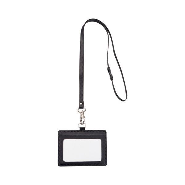 (まとめ) TANOSEE 合皮 フェイクレザー 製ネームカードホルダー ヨコ型 ストラップ付 ブラック 1個 【×30セット】 黒
