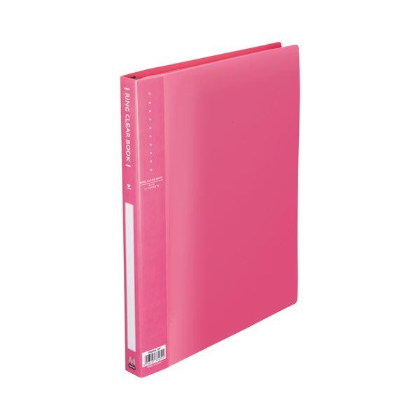 (まとめ) TANOSEE リングクリヤーブック(クリアブック) A4タテ 30穴 10ポケット付属 背幅25mm ピンク 1冊 【×30セット】