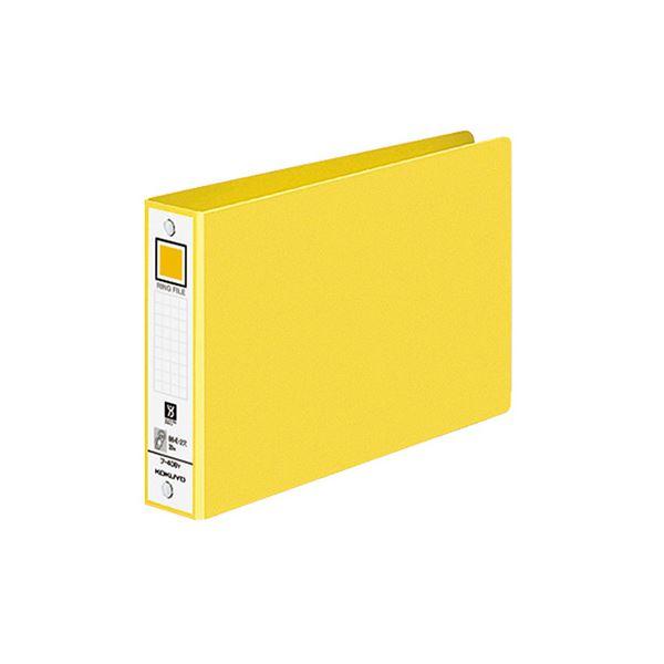 (まとめ)コクヨ リングファイル 色厚板紙表紙B6ヨコ 2穴 220枚収容 背幅38mm 黄 フ-408NY 1冊 【×30セット】