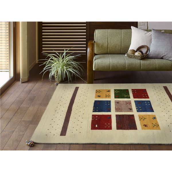 ウール100%の手織りギャッベ ラグ 約80×140cm マスタード