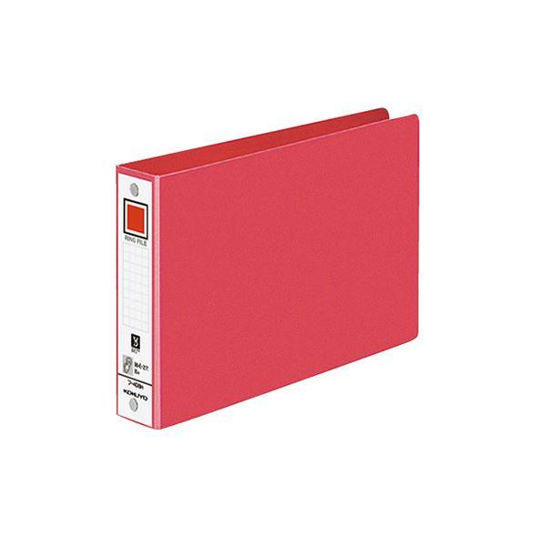 (まとめ)コクヨ リングファイル 色厚板紙表紙B6ヨコ 2穴 220枚収容 背幅38mm 赤 フ-408NR 1冊 【×30セット】