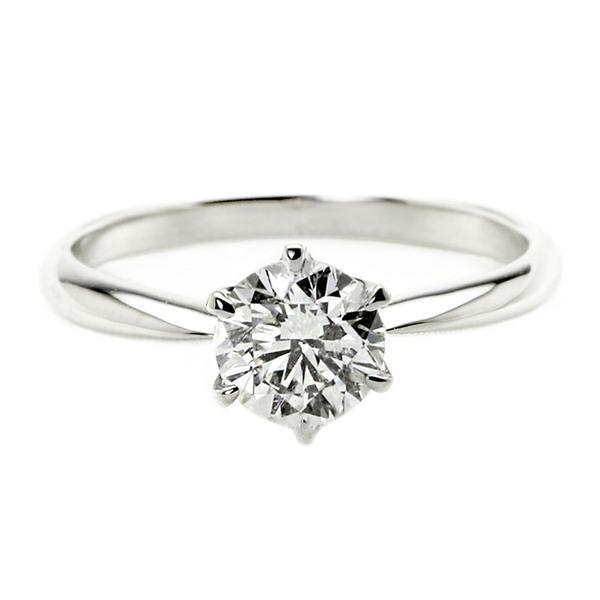 ダイヤモンド リング 一粒 1カラット 15号 プラチナPt900 Hカラー SI2クラス Good ダイヤリング 指輪 大粒 1ct 鑑定書付き
