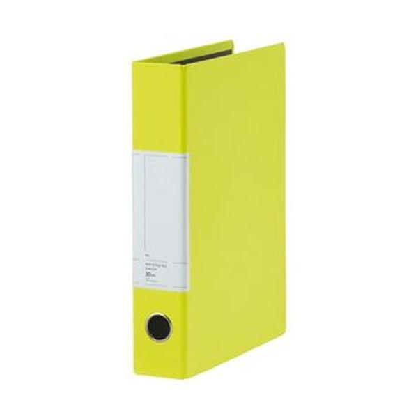 (まとめ)TANOSEE 両開きパイプ式ファイルSt A4タテ 300枚収容 30mmとじ 背幅57mm ライムグリーン 1セット(10冊)【×3セット】 緑