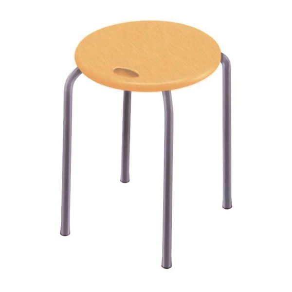 モダン スタッキングチェア (イス 椅子) 【同色4脚セット ナチュラル×シルバー】 幅32cm 日本製 国産 木製 『ハンドルスツール バーチェア カウンターチェア 』