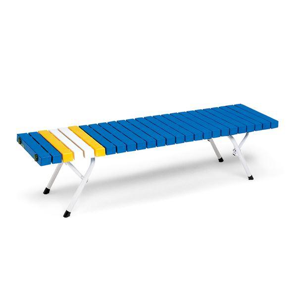 折りたたみホームベンチ/腰掛けベンチチェア 【幅:約150cm】 屋外使用可 ブルー 〔業務用 施設 プール 店舗〕