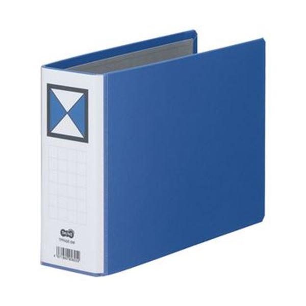 (まとめ)TANOSEE 両開きパイプ式ファイルA5ヨコ 500枚収容 50mmとじ 背幅66mm 青 1セット(10冊)【×3セット】