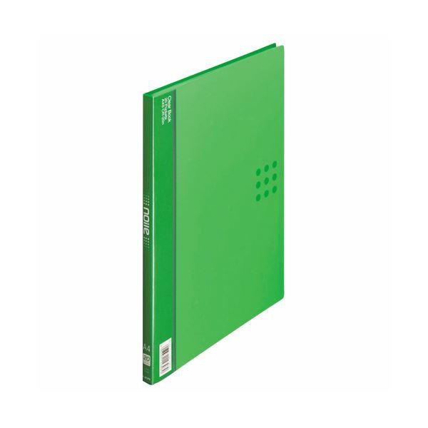 (まとめ) ライオン事務器 クリアーブック(ノイル)A4タテ 20ポケット 背幅14mm グリーン CR-20n 1冊 【×30セット】 緑