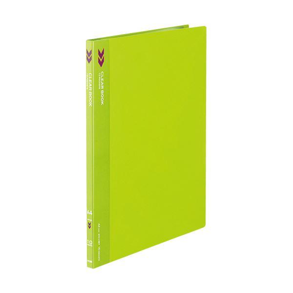 (まとめ) コクヨ クリヤーブック(クリアブック)(K2)固定式 A4タテ 10ポケット 背幅11mm 中紙なし 黄緑 K2ラ-K10YG 1冊 【×50セット】