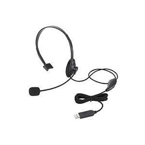 (まとめ)USBヘッドセット(片耳小型オーバーヘッドタイプ) 1.8m HS-HP21UBK 1個【×3セット】