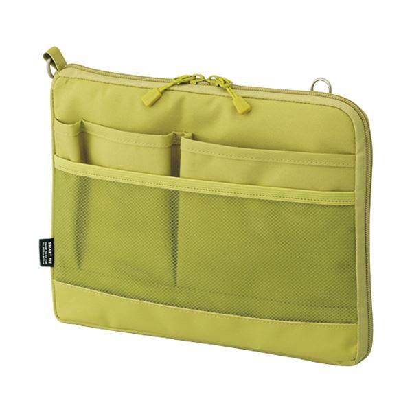 (まとめ) リヒトラブ SMART FITACTACT バッグインバッグ (ヨコ型) A5 イエローグリーン A-7680-6 1個 【×10セット】 緑 黄