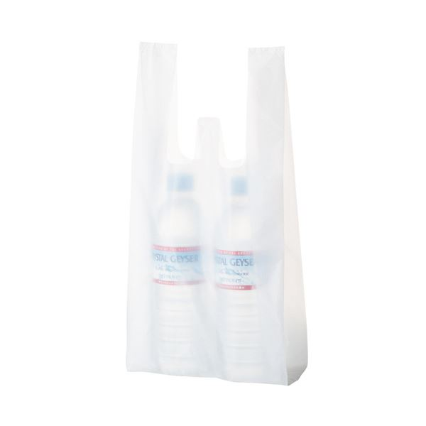 (まとめ) TANOSEE 乳白レジ袋 12号ヨコ180×タテ380×マチ幅110mm 1パック(100枚) 【×50セット】