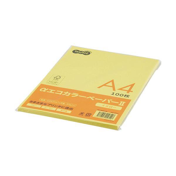 (まとめ) TANOSEE αエコカラーペーパーII A4 イエロー 少枚数パック 1冊(100枚) 【×30セット】 黄