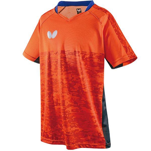 バタフライ(Butterfly) 卓球アパレル ELCREST SHIRT(エルクレスト・シャツ) 男女兼用 45440 オレンジ S