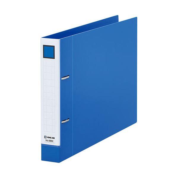 (まとめ)キングジム レバーリングファイルDタイプ A4ヨコ 2穴 250枚収容 背幅37mm 青 6882アオ 1冊 【×10セット】