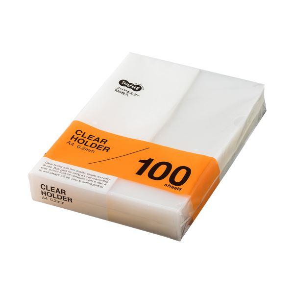 (まとめ)TANOSEE クリアホルダー A4クリア 1セット(500枚:100枚×5パック)【×3セット】
