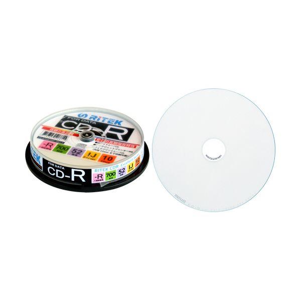 (まとめ) RITEK データ用CD-R 700MB1-52倍速 ホワイトワイドプリンタブル スピンドルケース CD-R700EXWP.10RT C1パック(10枚) 【×30セット】 白