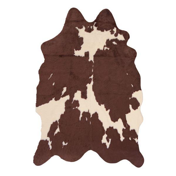 アニマル柄 ラグマット じゅうたん カーペット 敷き物 /絨毯 【カウ柄 ブラウン】 160×220cm フェイクファー ポリエステル 〔リビング ダイニング 店舗 お店〕 茶
