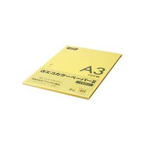 (まとめ) TANOSEE αエコカラーペーパーII A3 イエロー 少枚数パック 1冊(100枚) 【×10セット】 黄