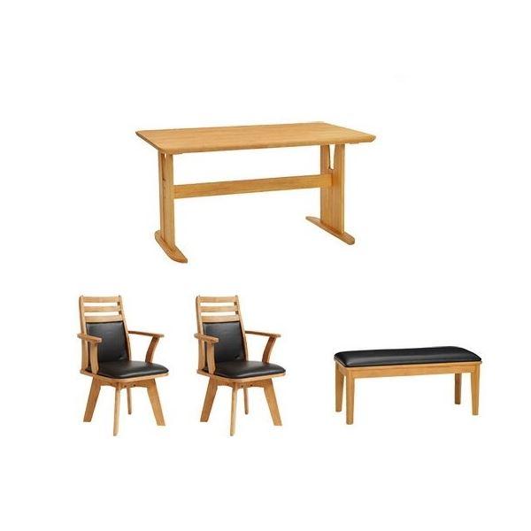 【4点セット】ダイニングテーブル1台&回転チェア×2脚&ベンチ×1脚セット 木製 ブラッシング加工 ナチュラル