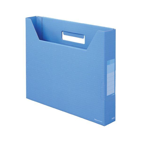 (まとめ)プラス デジャヴカラーズシリーズボックスファイル スリム A4ヨコ 背幅50mm スカイブルー FL-022BFSB 1冊 【×30セット】