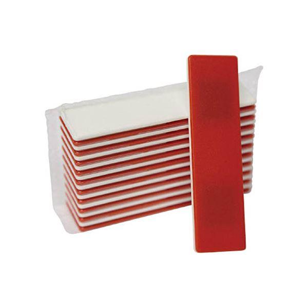 (まとめ)日本統計機マグネット式両面名札22×82 白×赤 S25-2 1パック(10枚)【×3セット】
