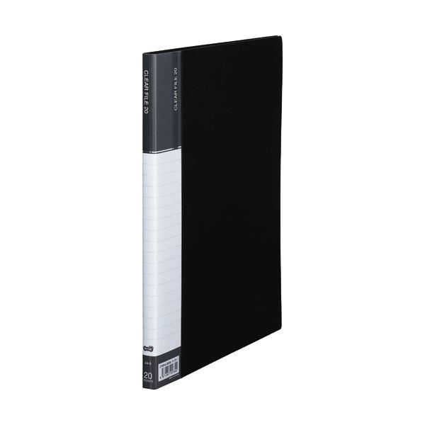 (まとめ) TANOSEE クリヤーファイル(台紙入) A4タテ 20ポケット 背幅14mm ダークグレー 1セット(10冊) 【×5セット】