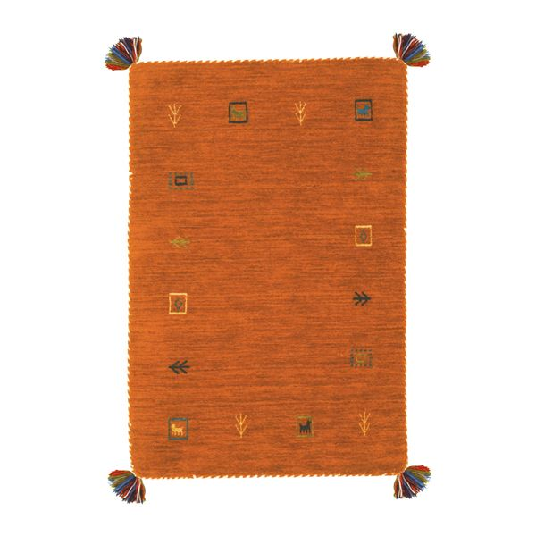 ギャッベ ラグマット/絨毯 【約200×200cm オレンジ】 ウール100% 保温性抜群 調湿効果 オールシーズン対応 〔リビング〕