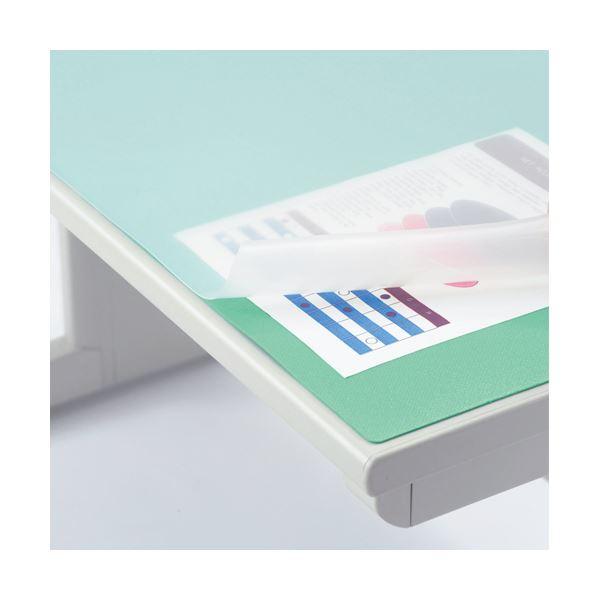 (まとめ)ライオン事務器 デスク (テーブル 机) マット再生オレフィン製 ノングレア仕上 ダブル(グリーンマット付) 1390×690×1.5mm No.147-PR1枚【×3セット】 緑